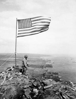 Photograph - American Flag Flying Over Mount Suribachi - Wwii by War Is Hell Store