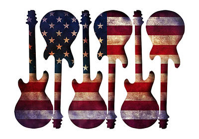 Digital Art - American Flag Guitar Art by Gravityx9 Designs