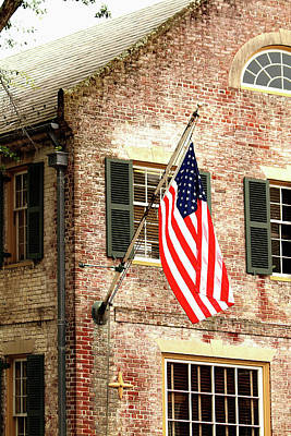 Photograph - American Flag In Colonial Williamsburg by Emanuel Tanjala