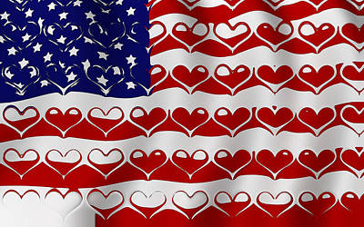 American Flag In Hearts Art Print by Yury Malkov
