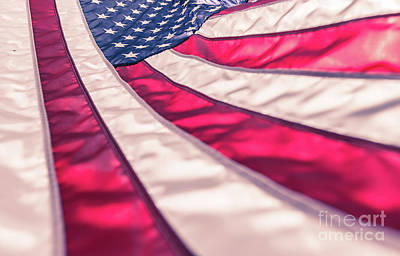 Photograph - American Flag In Red White Stripe,stars And Blue Symbolic Of Pat by Jingjits Photography