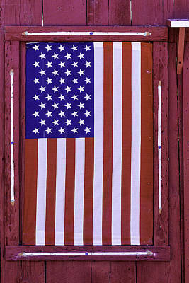 Blue Window Photograph - American Flag In Red Window by Garry Gay