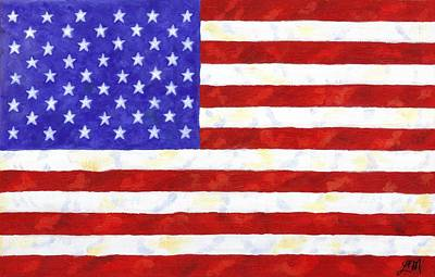 Patriotic Painting - American Flag by Linda Mears