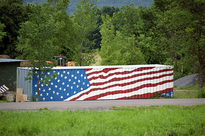 Red White And Blue Mixed Media - American Flag Ocean Container by Thomas Woolworth