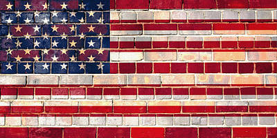 Digital Art - American Flag On A Brick Wall by Steve Ball