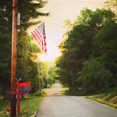 Painting - American Flag On A Country Road by Lisa Gilliam