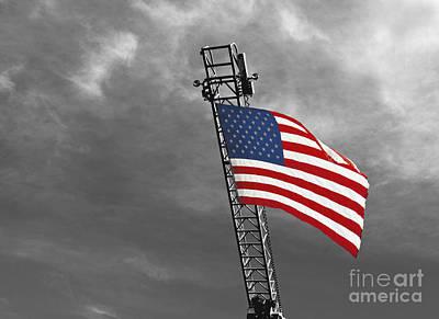 American Flag On A Fire Truck Ladder Art Print by Mark Hendrickson