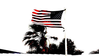 Photograph - American Flag On A Windy Day Delray Beach Florida by Lawrence S Richardson Jr
