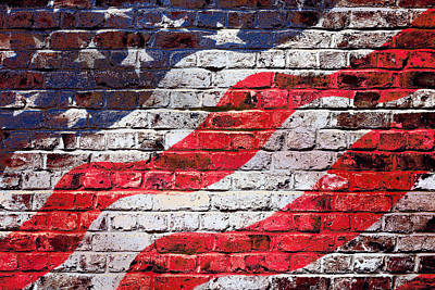 Beach House Signs - American Flag on Brick Wall by SR Green