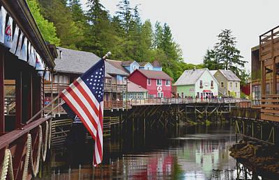 Whore House Photograph - American Flag On Creek Street Ketchikan Alaska by Barbara Snyder