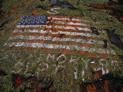 Photograph - American Flag On Mount Shenandoah by Raymond Salani III