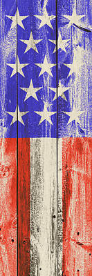 Digital Art - American Flag On Rustic Wood Surface by Steven Green