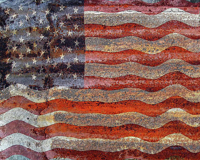 Digital Art - American Flag On Rusty Tin by Rebecca Korpita
