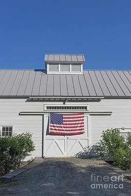 White Barn Photograph - American Flag On White Barn by Edward Fielding