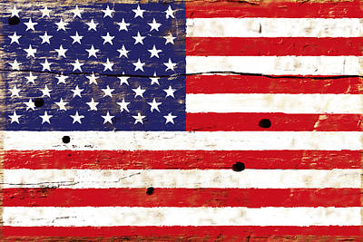 Digital Art - American Flag On Wood Surface by SR Green