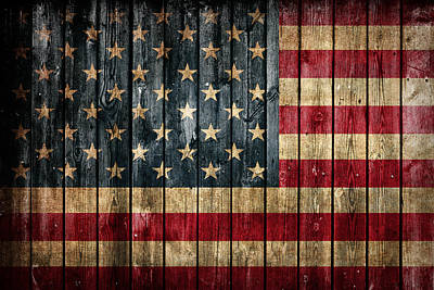 American Flag Painted On Reclaimed Barn Wood Art Print