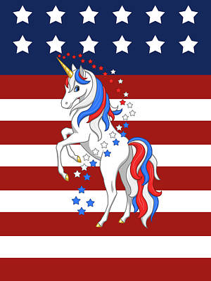 Digital Art - American Flag Patriotic Unicorn by Crista Forest