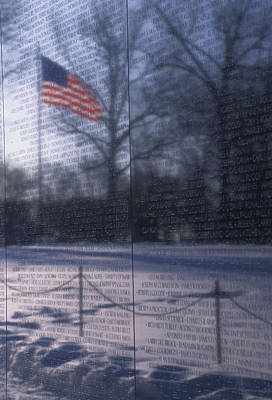 American Flag Reflected In The Vietnam Art Print by Stacy Gold