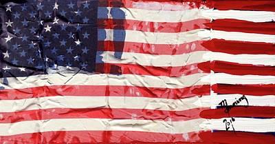 Painting - American Flag Fl-01-fc-16 by Richard Sean Manning