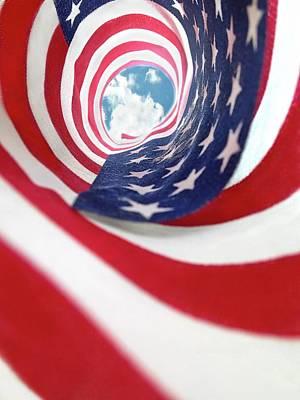 Photograph - American Flag Swirl by Lorella Schoales