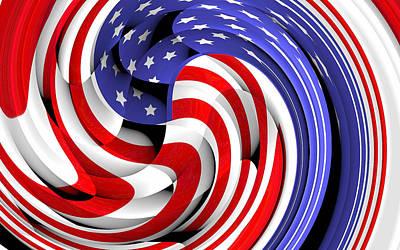 Digital Art - American Flag Swirls 2 by Yury Malkov