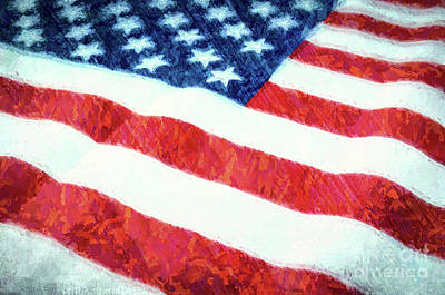 Photograph - American Flag Textured by Andrea Anderegg