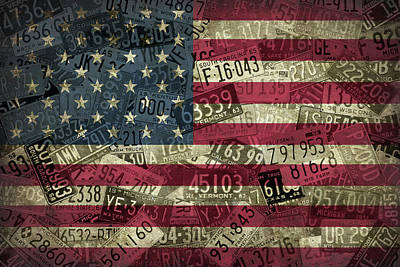 American Flag Vintage Assorted License Plate Art Art Print