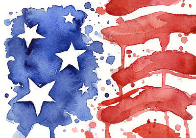 Red White And Blue Painting - American Flag Watercolor Painting by Olga Shvartsur