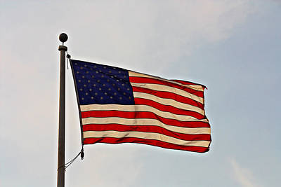 Photograph - American Flag Waving Proudly- Fine Art by KayeCee Spain