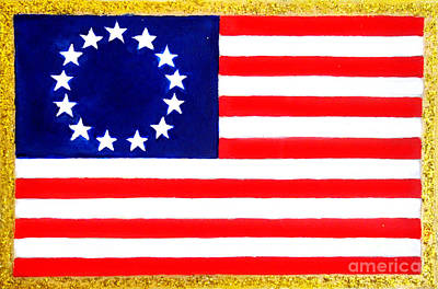 Betsy Ross Painting - American Flag With 13 Stars by Sofia Metal Queen