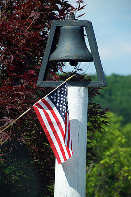 Red White And Blue Mixed Media - American Flag With Bell by Thomas Woolworth