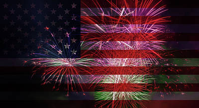 Photograph - American Flag With Fireworks Display by David Gn