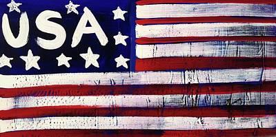 Painting - American Flag Fl-14-fc-16 by Richard Sean Manning