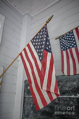 Photograph - American Flags by Edward Fielding