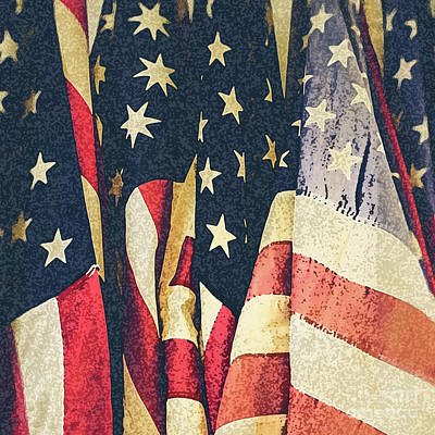 Photograph - American Flags Painted Square Format by Edward Fielding