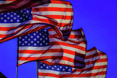 Photograph - American Flags Waving by Garry Gay