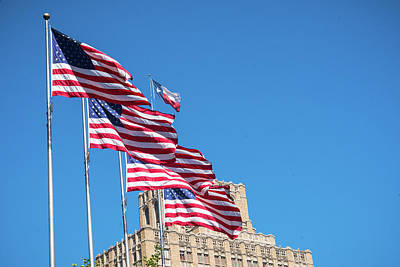 Photograph - American Flags With Texas Lone Star San Antonio by Lawrence S Richardson Jr