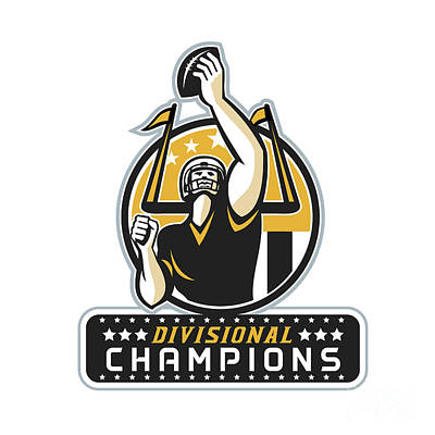 Champion Digital Art - American Football Divisional Champions Retro by Aloysius Patrimonio