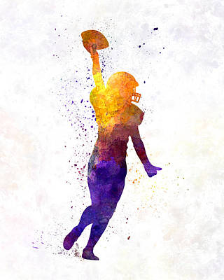 Playing Football Painting - American Football Felame Player In Watercolor by Pablo Romero