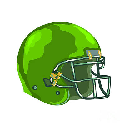 Public Administration Digital Art - American Football Helmet Green Wpa by Aloysius Patrimonio