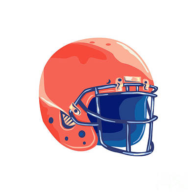 Public Administration Digital Art - American Football Helmet Wpa by Aloysius Patrimonio