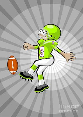 Team Digital Art - American Football Player Kicking The Ball On A Background Of Grayscale Rays. by Daniel Ghioldi