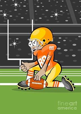 Nfl Digital Art - American Football Player Kneeling Illustration In Cartoon Style by Daniel Ghioldi