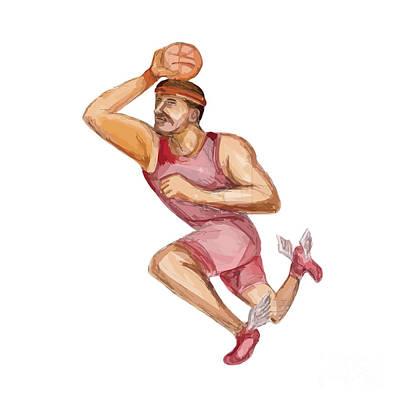 American Football Player Touchdown Caricature Art Print by Aloysius Patrimonio
