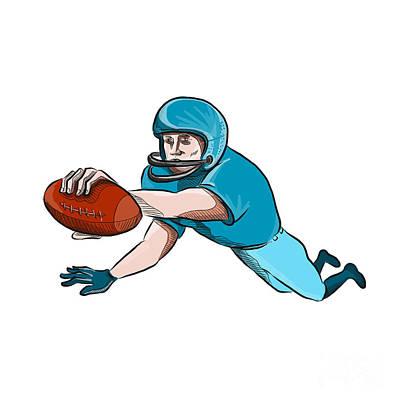 Scoring Digital Art - American Football Player Touchdown Drawing by Aloysius Patrimonio