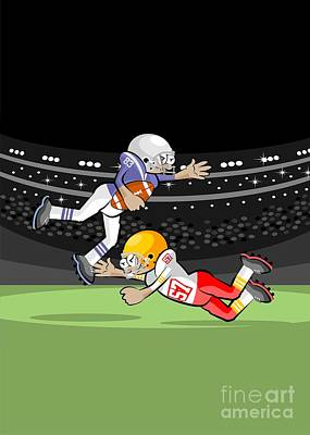 Nfl Digital Art - American Football Players Fighting For The Ball by Daniel Ghioldi