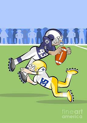 American Football Players In Hard Fight For Control Of The Ball Art Print