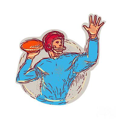 Hand Thrown Digital Art - American Football Quarterback Throwing Ball Drawing by Aloysius Patrimonio