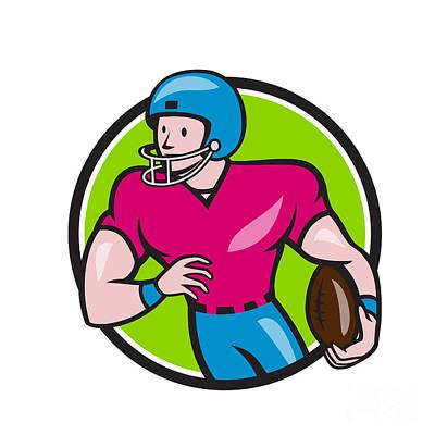 Tailback Digital Art - American Football Receiver Running Circle Cartoon by Aloysius Patrimonio