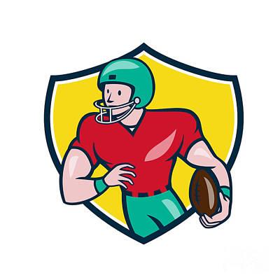 Tailback Digital Art - American Football Receiver Running Shield Cartoon by Aloysius Patrimonio